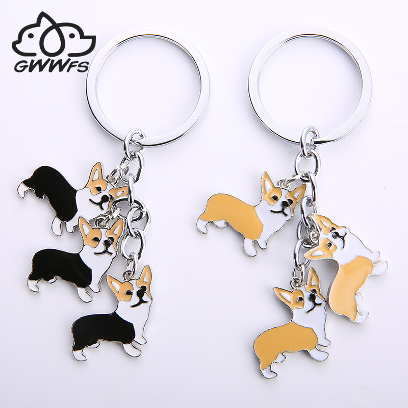 Welsh Corgi Pembroke Key Chains For Car Bag Silver Color Alloy Metal Pet Dog Pendant Charm Men Women Keychain Key Ring Holder
