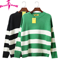 New Striped Sweater And Pullover Women 2017 Winter Casual Long Sleeve Knitted Short Sweater Black Green Thicken Sweaters