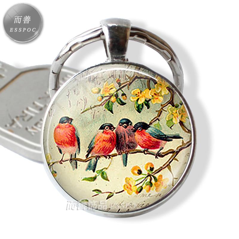Robin Redbreast Keychain Friendship Keyring Cabochon Glass Gift Friendship Gift Bird Jewelery Robin Keychain Key Chain Key Fob