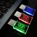 Pen drive 8GB, Crystal Transparent 3Color LED Light for Hyundai Car Logo pen drive 4GB 8GB 16GB 32GB Memory Drive Stick Pen/Car