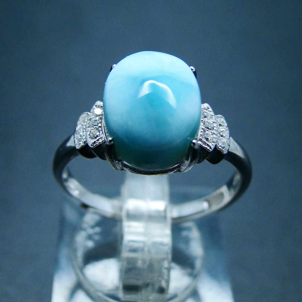 Natural Caribbean Blue Larimar 925 Sterling Silver Oval Shape Woman Gemstone Jewelry Rings Silver Wedding Party Jewelry