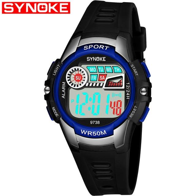 SYNOKE Fashion Casual Children Watches 50M Waterproof Wristwatches Jelly Kids Ma
