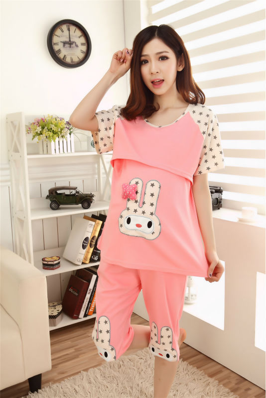 2 piece set women Plus size maternity wear breast feeding clothes pink kawaii lactating  ...
