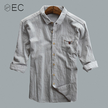 896d1324633a EC2018 Men Casual Shirts Cotton and Linen Pure Color Shirts Seven sleeves  Shirts Loose Fashion Commerce. 3 Colors Available