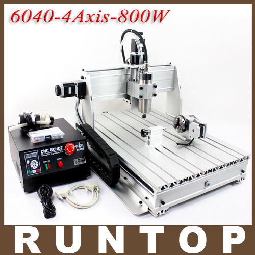 800W Four-axis CNC Router Engraver Engraving Milling Drilling Cutting Machine CNC 6040Z-4S eur free tax cnc 6040z frame of engraving and milling machine for diy cnc router