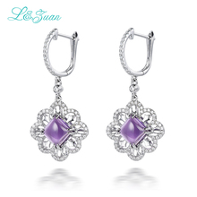 l&zuan 925 Sterling Silver earrings 3.7ct Natural Amethyst Purple Stone Elegant Clip Earrings For Woman