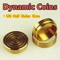 Cobre dinámicos monedas - ee.uu. half dollar tamaño - truco, envío gratis, truco de magia juguetes clásicos, truco, prop, accesorios