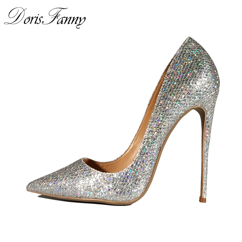 DorisFanny Spring/Autumn wedding shoes bride silver sexy high heels pumps women shoes heels pumps 12cm pointed toe stiletto high heels european grand prix 2015 new winter bride wedding high heels nightclub wild pointed high heeled shoes women pumps page 6