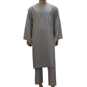 Image 3 - Robe arabe pour hommes, 2 pièces, vêtements musulmans saoudiens, tenue avec pantalon, Dubai Thobe Kaftan, Dishdasha Thoub, col montant