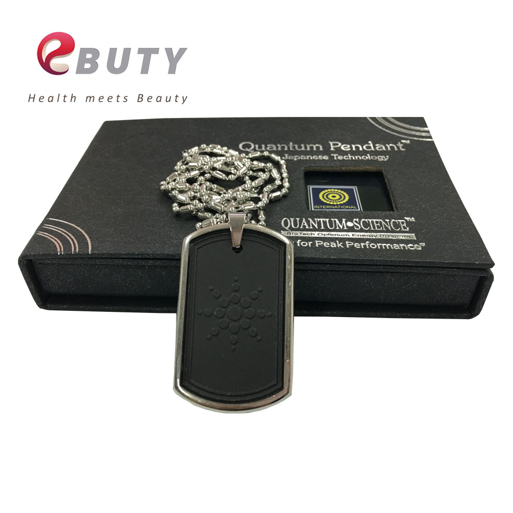 Fashion Pendant Energy Quantum Scalar Charms With Stainless Steel Chain Lava Tourmaline Stone with Gift Box