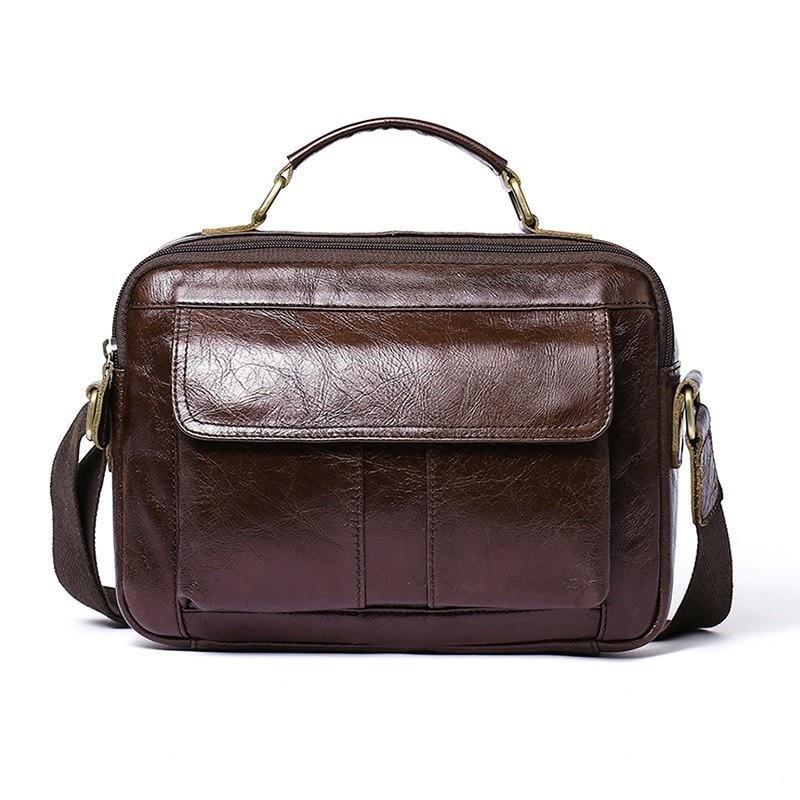High Quality Male Handbag Genuine Leather Men's Briefcase Messenger Bag Men Laptop Shoulder Bag For Document Computer Bag