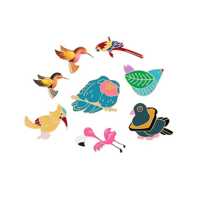 9 Gaya Fashion Kartun Logam Pin Lencana Hewan Bros Lucu Biru Merah Kuning Burung Topi Koboi Sweater Aksesori Wanita Anak hadiah