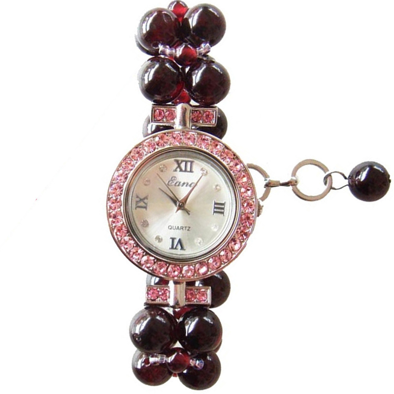 2020 Time-limited Sale 18 Years Han Edition Set Auger Ladies Watch New Quartz Natural Wine Red Garnet Bracelet Wholesale