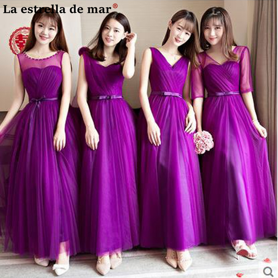 Vestido de madrinha de casamento longo2018 new Tulle sleeve 4 style purple   bridesmaid     dresses   long cheap wedding guest   dress