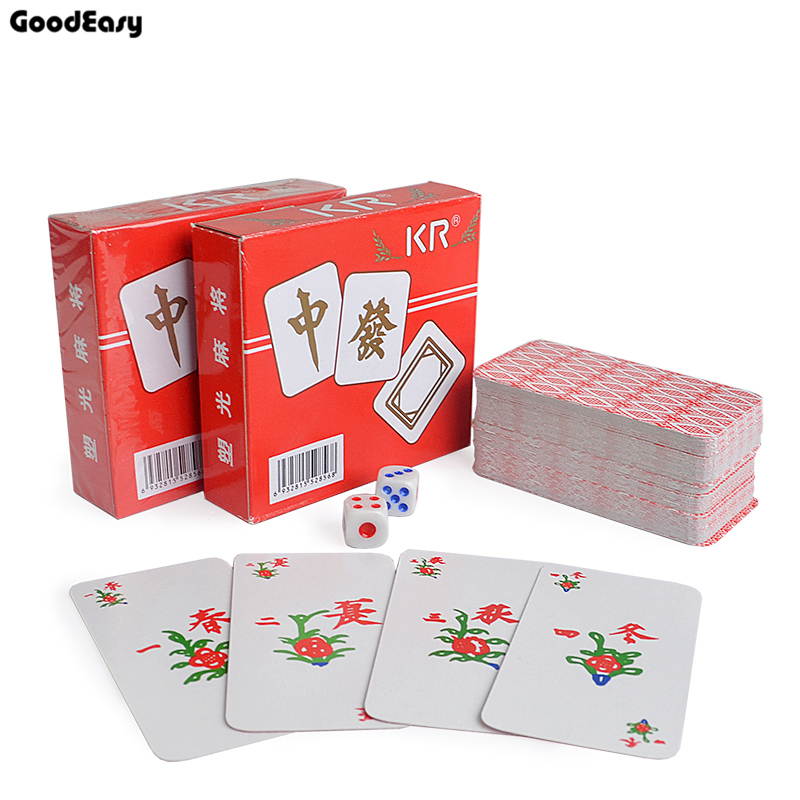 KR Paper Mahjong playing cards set with 2 dices&Flannelette bag Chinese Traditional Classic Card Games Family Table Game
