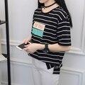 Verão New Hot O-pescoço tarja de manga Curta Tops de Algodão Letras impressas Casuais todo o jogo T-shirt Das Mulheres