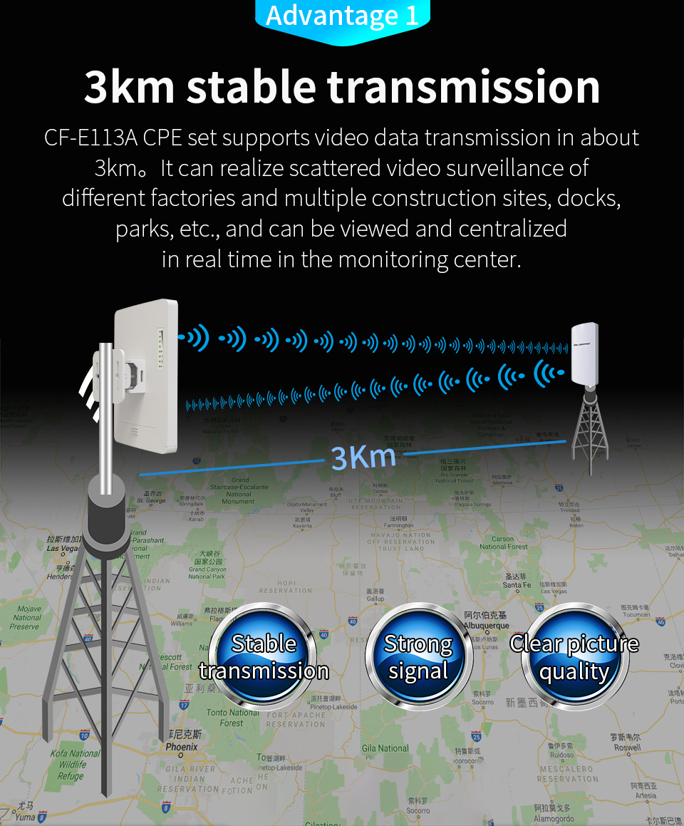 2pcs 3km 300Mbps Comfast CF-E113A High Power Outdoor Wifi Repeater 5GHz Wireless Wifi Router AP Extender Bridge Nano station AP(China)