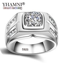 Sona YHAMNI Solid Original 925 Sterling Silver Rings For Men 1 Carat Diamant Engagement Rings Cubic Zirconia Wedding Rings Men Jewelry