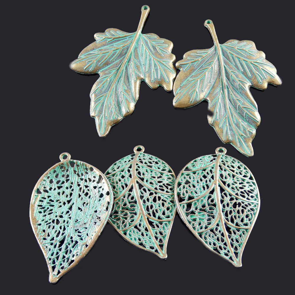 Julie Wang 10pcs Antique Bronze Charms Simulated Retro Green  Hollow Leaves Pendants Hanging Jewelry Crafts Necklace Accessory