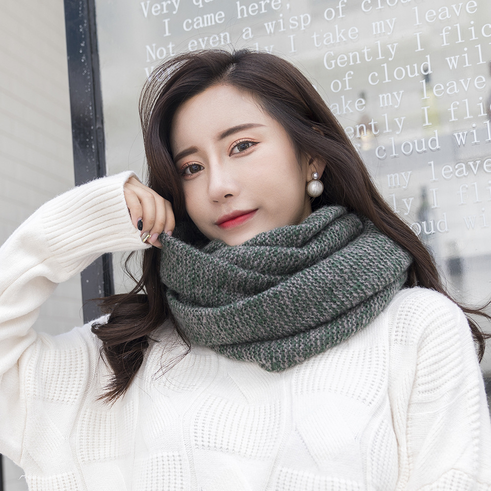 2018 Winter Ring Tube   Scarf   Women Knitted Neck Warmer   Scarf   Luxury Brand Oversized Outdoor Windproof Thick Long   Scarves     Wraps