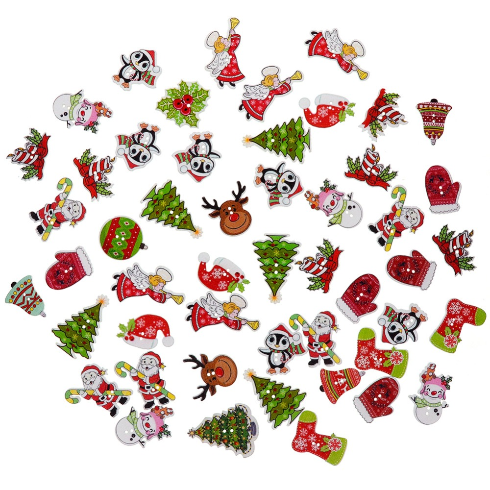 50pcs Random Mixed Wooden Button Christmas Pattern Scrapbook Decorative Buttons For Cloth Decoration New Year's Product #287509