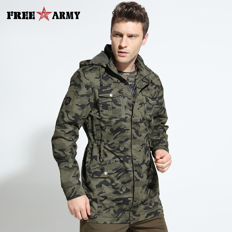 2017 Autumn Winter Jacket Coat Men's Trench Coat Military Fashion Coat Men Army Hooded Jacket Camouflage Male Jackets And Coats