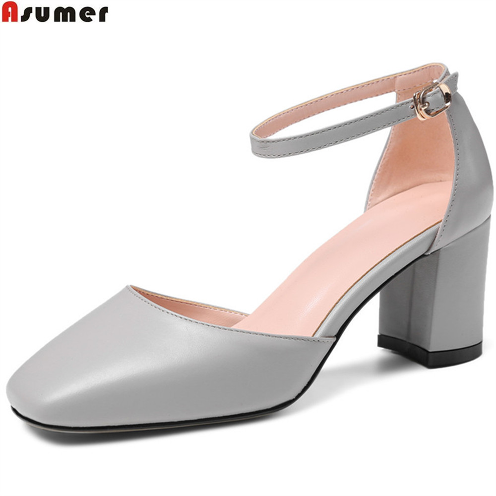 Asumer apricot gray fashion spring autumn new shoes woman buckle square toe single shoes genuine leather high heels shoes asumer beige pink fashion spring autumn shoes woman square toe casual single shoes square heel women high heels shoes