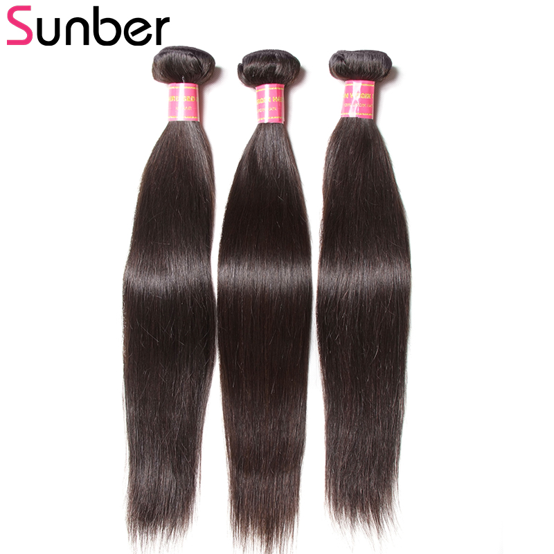 Sunber Hair Indian Straight Human Hair Weave Bundles 3pc/lot 8 to 30 Inches Natural Color Remy Hair Extension Free Shipping