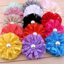 120pcs/lot 7cm 15colors Frayed Mesh Lace Flowers With Pearl For Hair Accessories Shabby Artificial Fabric Flowers For Headbands