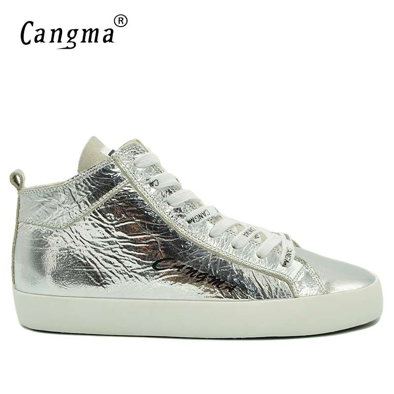 CANGMA Italy Designer Breathable Casual Shoes Mid Patent Genuine Leather Sneakers Men Silver Flats Lace Up Leisure Shoes Male