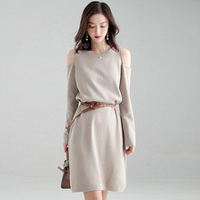 Fashion Off-the-shoulder Dress Womens Spring 2019 New Korean Version of the Solid Color Loose Lazy Wind Knit Trend