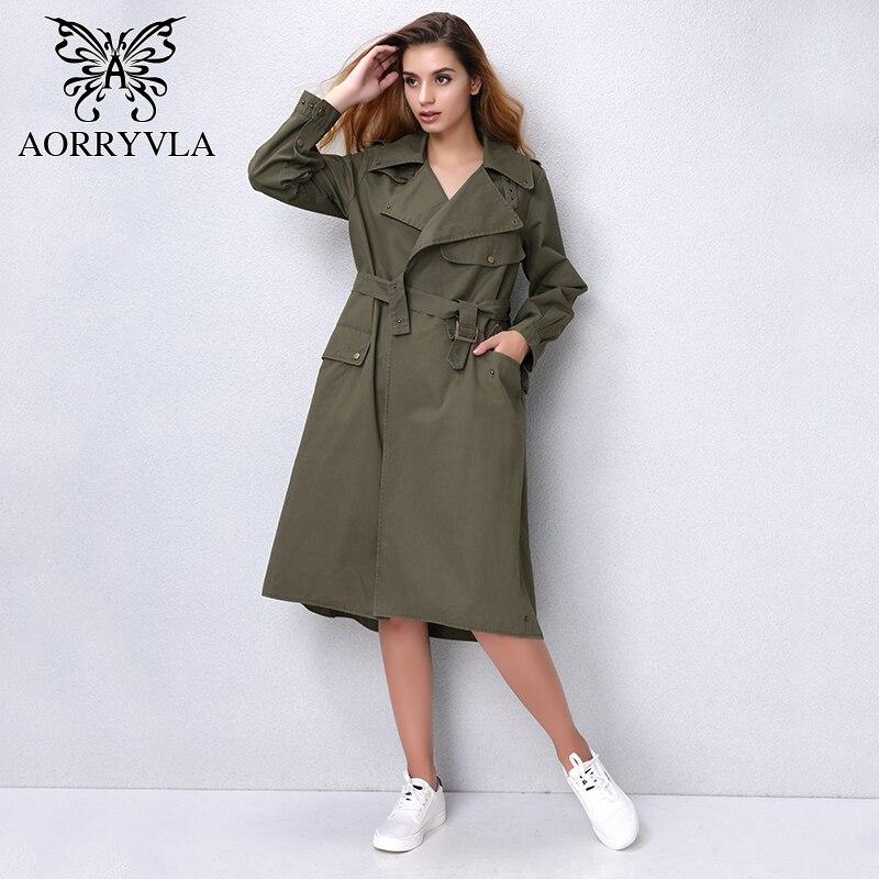 Mode Armée down Toile Femmes Nouveau Turn Manteau Aorryvla Black Automne De Tranchée Lâche Ao3703 Casual Green 2017 army Longue Coton Poches Vert wZxvIqOg