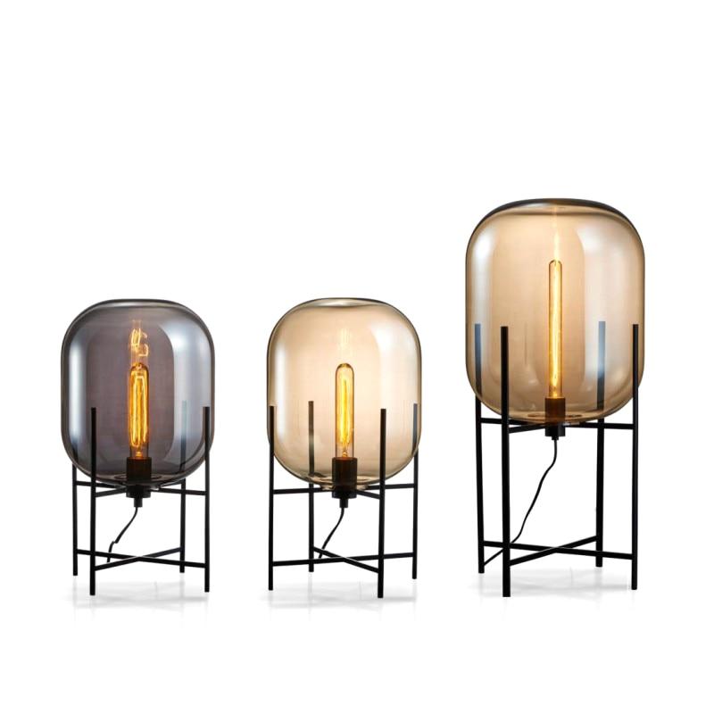 nova chegada criativo simples candeeiro de mesa abajur vidro luz da mesa preto e27 edison arte