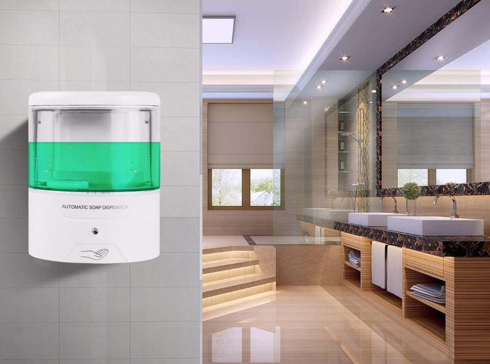 New 600ml Wall-Mount Automatic IR Sensor Soap Dispenser Touch-free Lotion Pump Touchless Liquid Home For Kitchen Bathroom