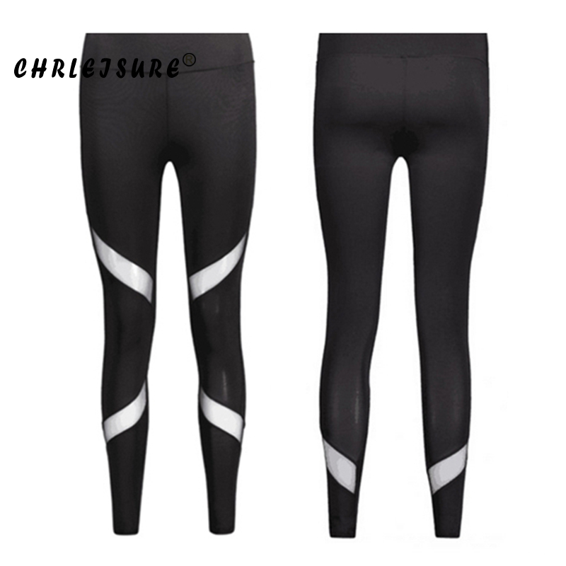 CHRLEISURE Sexy Women Leggings Gothic Insert Mesh Design Trousers Pants Big Size Black Capris Sportswear New