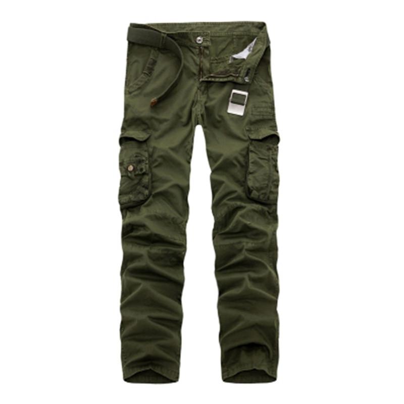 2017 Új férfiak Cargo Pants hadsereg zöld nagy zsebek dekoráció Alkalmi könnyű mosás férfi tavaszi és őszi álcázás nadrág mosott nadrág