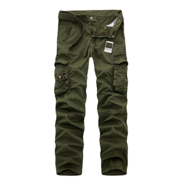 2017 New Men Cargo Pants army green big pockets decoration Casual easy wash male spring &autumn camouflage pants washed trousers