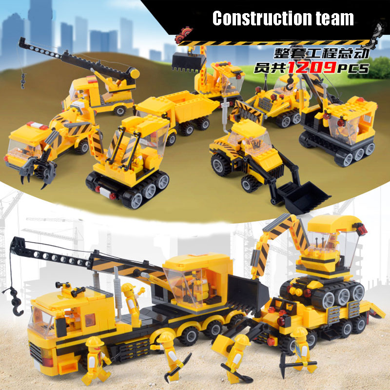 1209PCS City Construction Team Fork Truck/Carrier Loader/Crane/Bulldozer/Rooter 8IN1 Model Building Blocks Bricks Toy Kids Gift building blocks military boat carrier model construction assembled transformation toy children gift intelligence develop toy