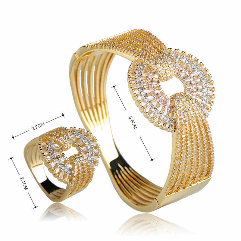 Dazz роскошный свадебный широкий браслет кольцо набор три тона цвета Полный украшения с цирконами наборы для женщин влюбленных вечерние подарки аксессуары для рук