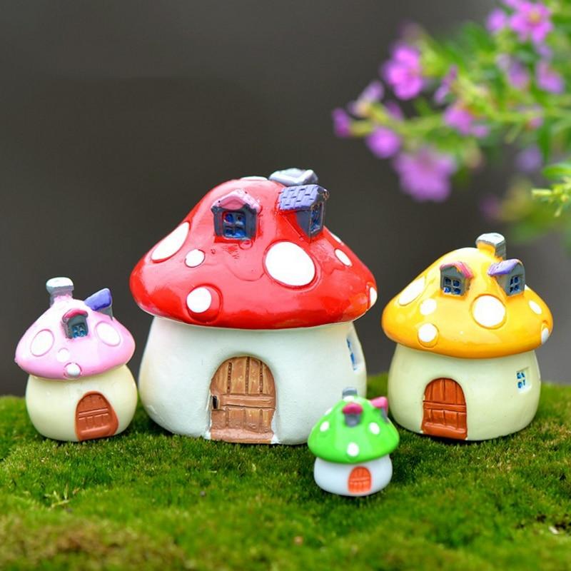 Toys & Hobbies 4pcs/set Lovely Mini Resin Colorful Mushrooms House Figurines Miniatures Fairy Garden Landscape Table Decor Figure Toy Gift
