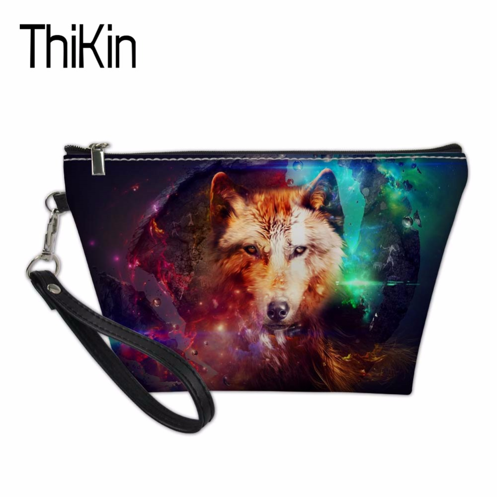 THIKIN Women Cosmetic Bags & Cases Wolf Pattern for Ladies Beauty Makeup Bag Travel Organizers Bags Make Up Case Toiletry Bag
