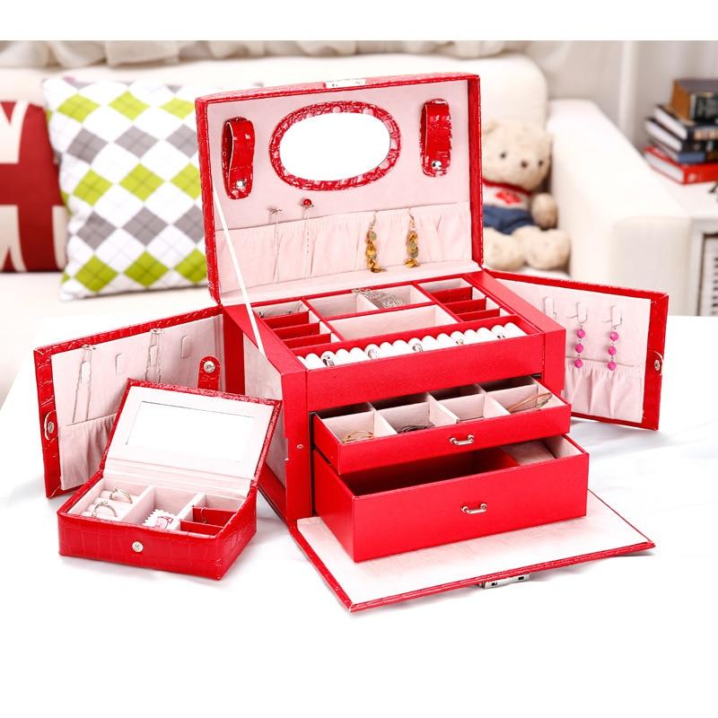 Large PU Crocodile Jewelry Carrying Storage Box Faux Leather Three Layers Storage Case Portable Jewel Displayer Makeup Case New полироль кузова 3ton тк 200
