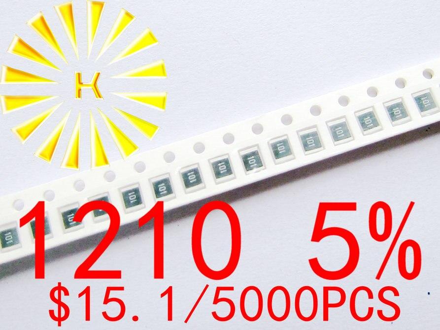 1210 5% Чип резисторы 0,01-0.091R 0,1-0.91R 1R-10M 1/3 Вт SMD резистор x 5000 шт