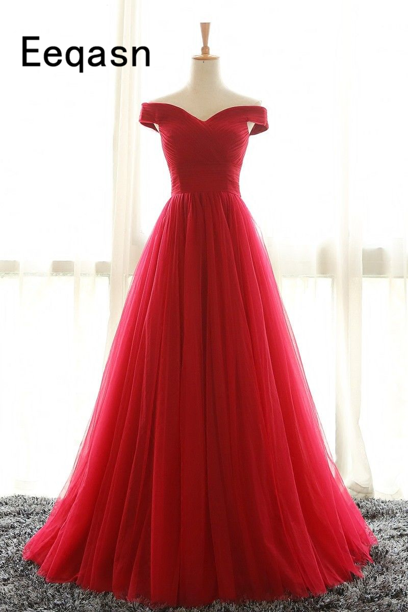 Real Photo Red Red Evening Dresses 2019 Long Off the Shoulder Pleated A-line Tulle Royal Blue Prom Gowns robe de soiree