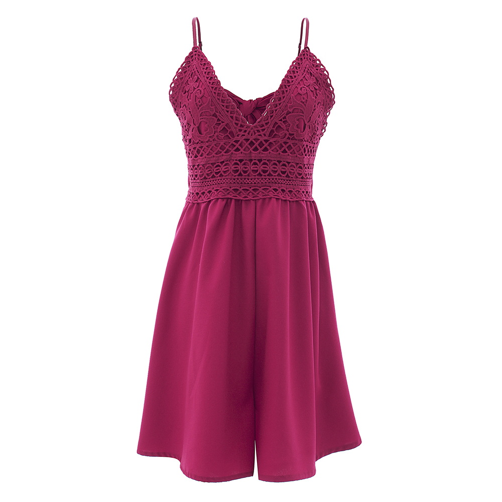 2018 Summer Women Shorts Romper Burgundy Loose Lace Spaghetti Strap V-neck Wide Leg Bow Hollow Fashion Girl Sexy Casual Playsuit