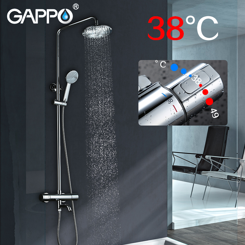 GAPPO Shower System tap waterfall Thermostatic Faucet New Top Grade wall mount Brass shower mixer sistema de chuveiro ducha in Shower System from Home Improvement