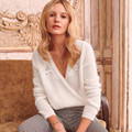 New French Pull Women Thin Flower Embroidery Lace V Neck Sweet Sweater White/Navy blue