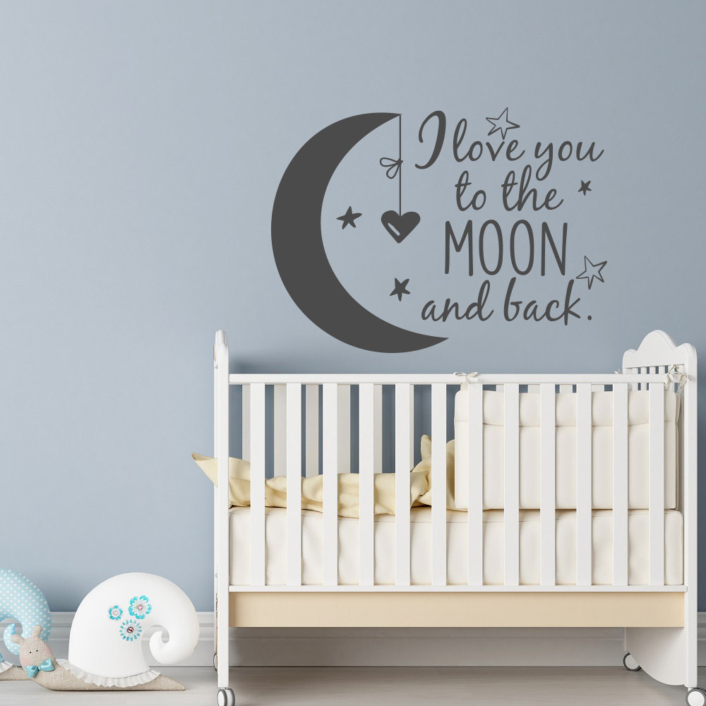 LOVE YOU TO THE MOON Wall Art Decal Nursery Kids Room