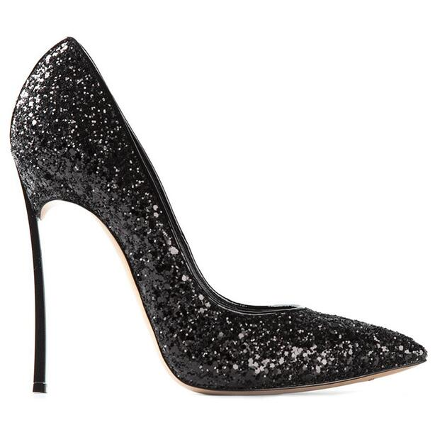 Fashion Ladies Bling Bling Shoes Plus Size 43 Stiletto Pumps 12cm Blade Thin High Heels Pointy Toe Glitter Bridal Wedding Shoes