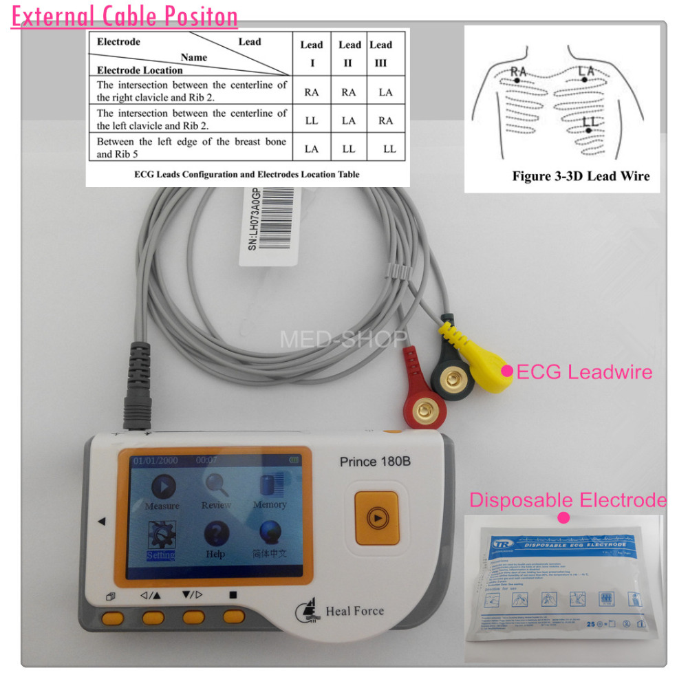 Heal Force Handheld ECG Monitor with 3 lead wires and black pouch-in ...